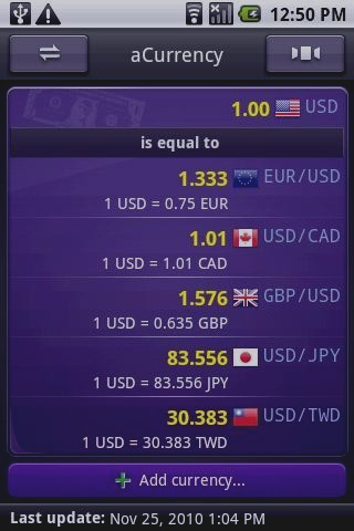 Скриншот aCurrency Pro (exchange rate)